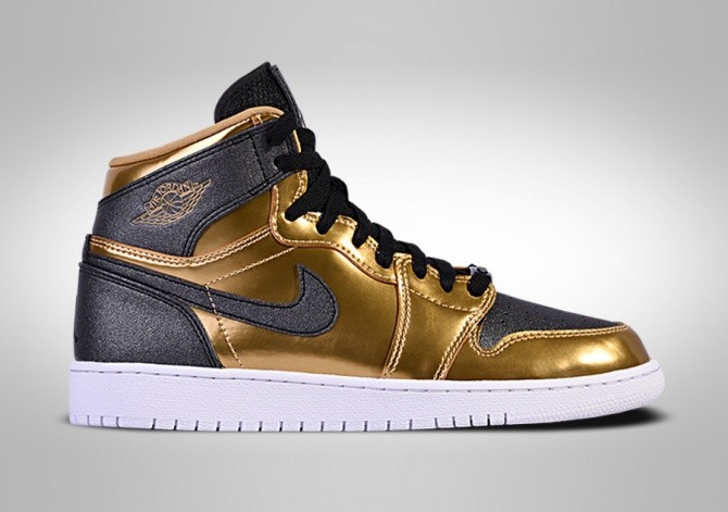 designer fashion 5861d e4d13 NIKE AIR JORDAN 1 RETRO HIGH BHM GG METALLIC GOLD BLACK-WHITE