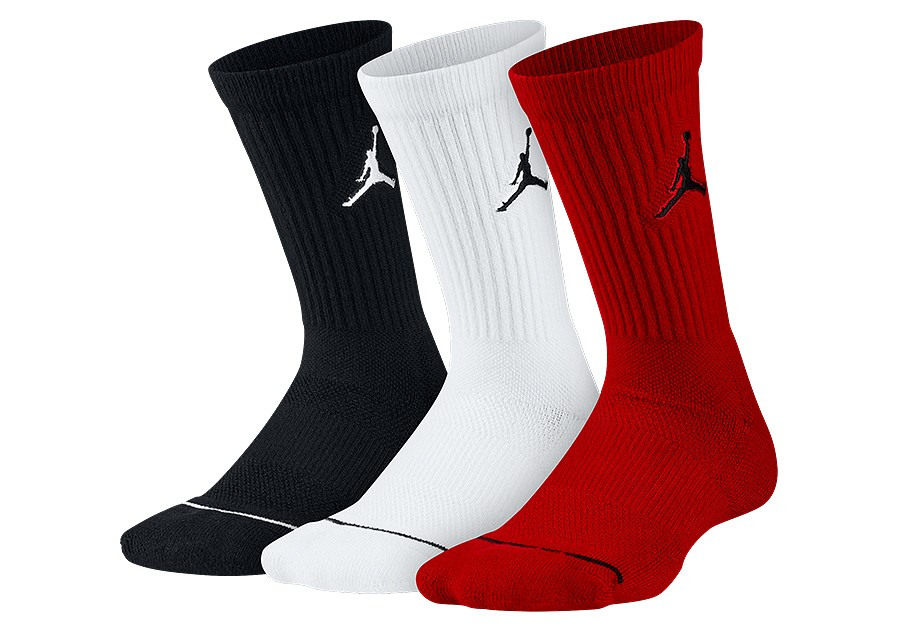 brand new 70b4a dbc80 NIKE AIR JORDAN JUMPMAN CREW SOCKS BLACK WHITE GYM RED