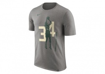 NIKE NBA GIANNIS ANTETOKOUNMPO MILWAUKEE BUCKS TEE DARK GREY HEATHER