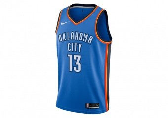 NIKE NBA OKLAHOMA CITY THUNDER PAUL GEORGE ROAD SWINGMAN JERSEY SIGNAL BLUE