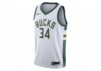 NIKE NBA MILWAUKEE BUCKS GIANNIS ANTETOKOUNMPO SWINGMAN HOME JERSEY WHITE