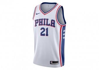 cd4a91916 NIKE NBA PHILADELPHIA 76ERS JOEL EMBIID SWINGMAN HOME JERSEY WHITE