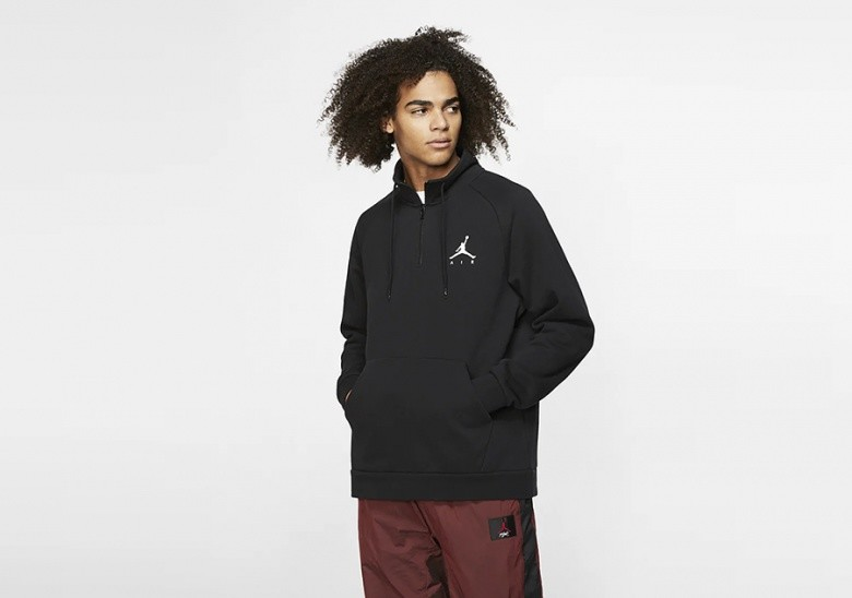 NIKE AIR JORDAN JUMPMAN 1/2 ZIP FLEECE TOP BLACK
