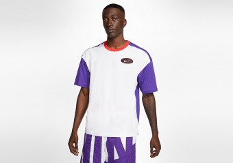 NIKE THROWBACK 2.1 BASKETBALL TEE COURT PURPLE