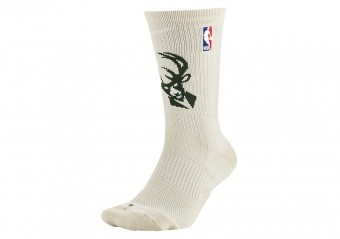 NIKE NBA MILWAUKEE BUCKS ELITE CREW SOCKS FLAT OPAL