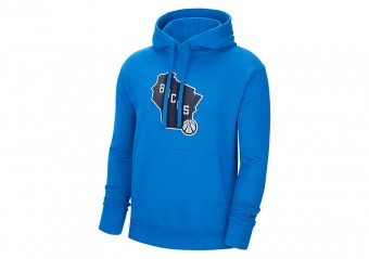 NIKE NBA MILWAUKEE BUCKS CITY EDITION LOGO PULLOVER FLEECE HOODIE PHOTO BLUE