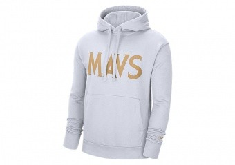 NIKE NBA DALLAS MAVERICKS CITY EDITION LOGO PULLOVER FLEECE HOODIE WHITE