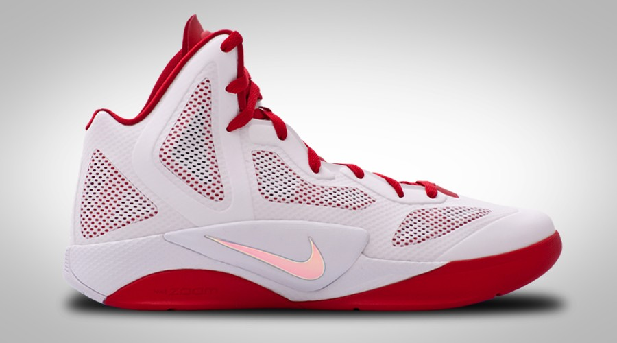 NIKE ZOOM HYPERFUSE 2011 WHITE GREY RED